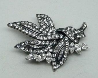 PRICE REDUCED!! Vintage Japanned Clear Rhinestone Leaf Brooch