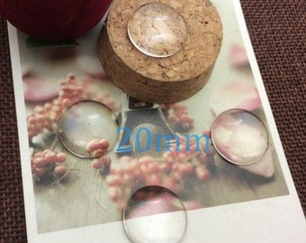 100pcs 20mm High-quality glass cabochon,transparent round domed glass,Clear Photo Glass,Wholesale glass -c20m