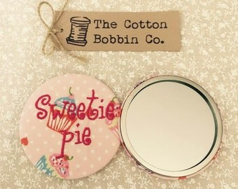 SWEETIE PIE Pocket Mirror Cupcake fabric embroidered miror Little Girl gift favour gift thank you gift Friend gift bridesmaid gift XL 77mm