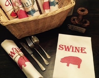 100% Luxury Cotton Embroidered Napkin Quirky SWINE Napkin Serviette White Cotton Luxury swine Napkin