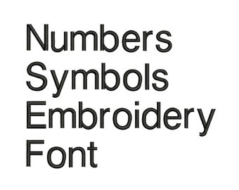 Machine Embroidery Font Designs - Font Letters, Numbers, Symbols Font Alphabet - 0.5, 1 , 0.75 , 1  & 1.5  inch Sizes