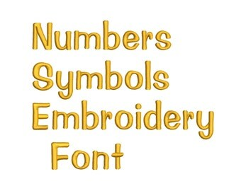 Machine Embroidery Font Designs - Font Letters, Numbers, Symbols Font Alphabet - 0.5, 1 , 0.75 & 1  inch Sizes