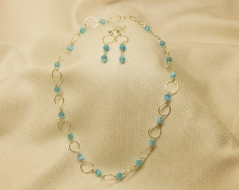 Aqua Cateye Beads with Silver Links
