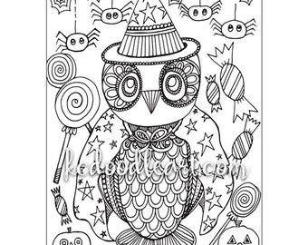 instant digital download - adult coloring page - owl halloween theme