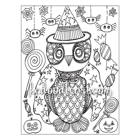 Instant Digital Download Adult Coloring Page Owl Halloween