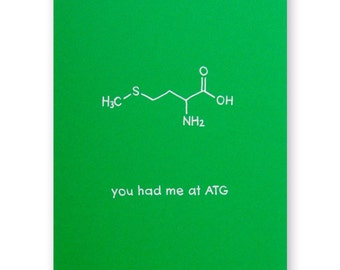 Biology Love Card - Nerd Valentine Card or Farewell Card - Chemistry DNA start codon ATG - You had me at ATG - You had me at hello