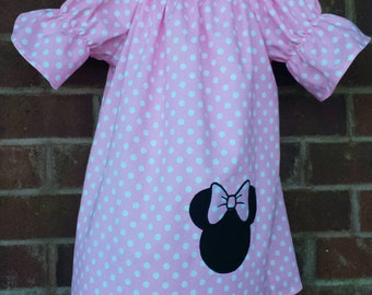 Minnie mouse dress / Peasant dress / minnie mouse applique / boutique dress