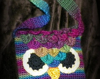 Fall Colors Owl Purse or clutch for kids & adults (hombre style, rainbow)