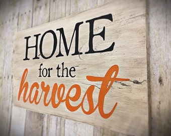 "Hand Painted Cottage Style ""Home for the Harvest"