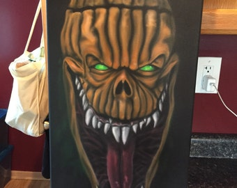 ON SALE!!! Halloween scary pumpkin airbrush painting.