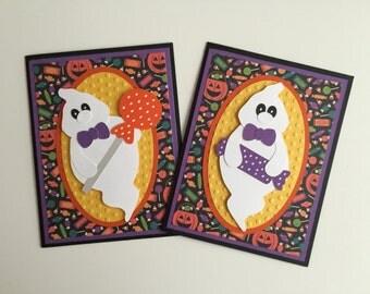 Handmade Set of Halloween Cards - Ghost