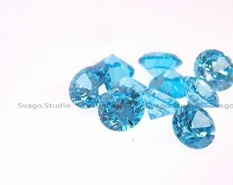 10pcs+ AAA  2mm to 6mm Round Brilliant Cut Aqua Blue Cubic Zirconia Loose Stone, CZ with the look of Blue Topaz, Aquamarine.