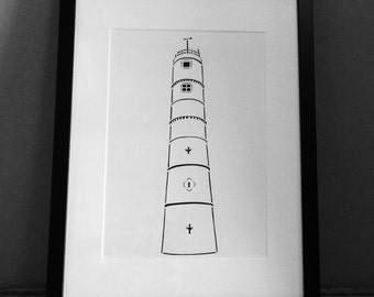Northumberland Paper Cut • Lighthouse Paper Cut • Blyth Lighthouse Paper Cut • Hand Cut Paper Cut