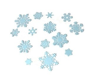 Assorted Sizes Paper Snowflake Die Cuts , Snowflake Embellishments , Snowflake Table Confetti Set of 14