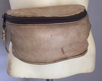 Beige Leather Fanny Pack