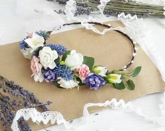 Floral crown, Bridal crown, bridal flower crown,purple hair wreath, purple flower crown, lavander wreath