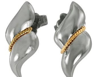 Vintage Tiffany Earrings Tiffany & Co Earrings 18K Gold Sterling Earrings 1975