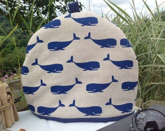 Tea cosy, Tea cozy in a Blue Whale Fabric in a natural linen look with a blue lining, fits a two to four cup teapot.