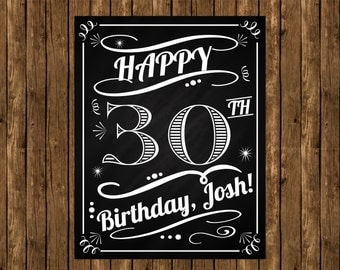 Adult Birthday Poster, Chalkboard Poster, Fun Chalkboard Poster,  Anniversary Poster, 30th Birthday Poster, Any age Birthday Poster