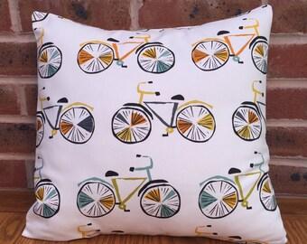 "Novelty Bike Orange, Yellow & Aqua Fabric Decorative Home Decor Pillow Cushion Cover 16"" / 40cm"