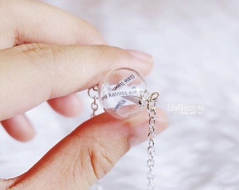 Hunger Games Glass Orb Reaping Ball Necklace Character Name inside
