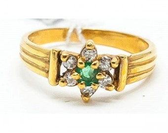 Ring Mineralife ring in yellow gold Emerald and diamond