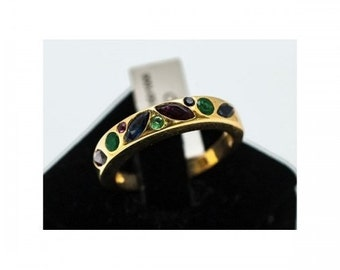 Ring Mineralife gold yellow, Emerald, Ruby and sapphire ring