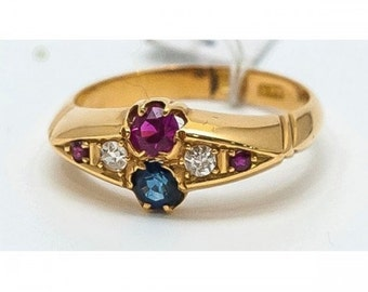 Old Mineralife in yellow gold with Sapphire, diamond and Ruby ring