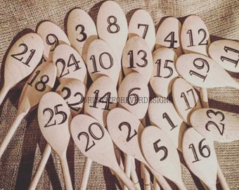 20 Personalised wedding table numbers, Wooden spoon, hotel table numbers, table number signs, hand embossed