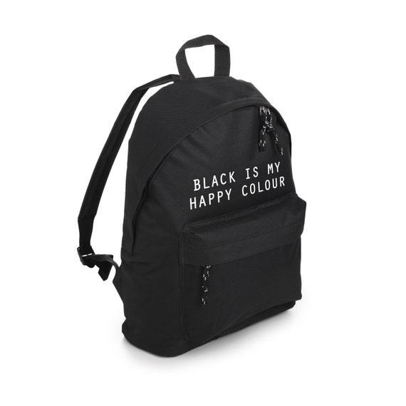 black is my happy color backpack school bag rucksack sports. Black Bedroom Furniture Sets. Home Design Ideas