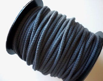 X 1 m cord 5 mm dark grey storm - cotton braided - resistant