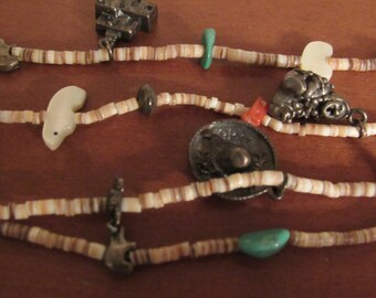 Vintage NATIVE AMERICAN HANDCRAFTED Heishi Turquoise Coral Sterling Silver Charms Necklace