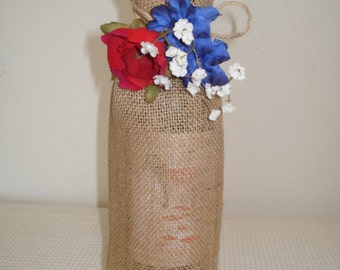 Burlap Wine Bag, Wine Tote, Fourth of July