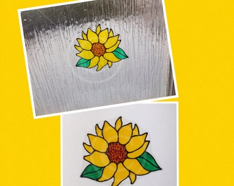Sunflower window cling, hand painted for glass & window areas, reusable faux stained glass effect decal, static cling suncatcher decals