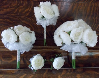 Wedding Bouquet Collection - Silk Peony Bouquets - Custom Wedding Package - Silk Peony Corsages - Silk Peony Boutonnieres - Vintage Inspired