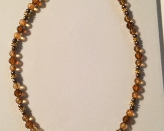 Brown and amber bead necklace
