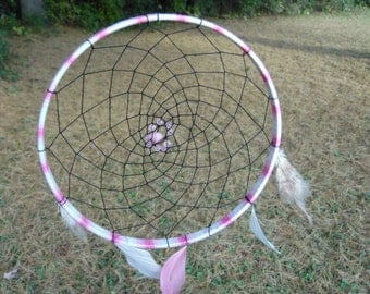 Pink and White Dreamcatcher w/ beads and feathers
