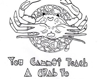 crab art handmade crab coloring beach relaxing coloring page 8x10 coloring sheet - Relaxing Coloring Pages