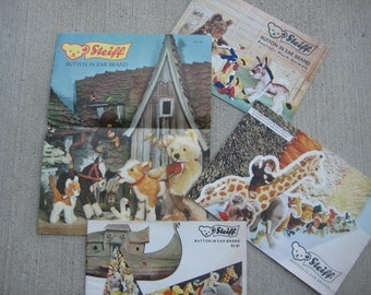 Steiff Button in Ear Brand Realistic Plush Animals Catalogs, 1960s