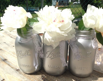 Silver Mason Jar for Centerpiece Decoration for Parties