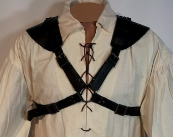 Gladiator style leather harness, for armor shoulder pads