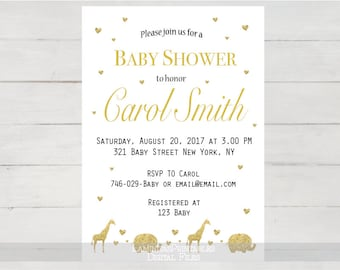 baby shower safari invitations, baby shower gold, safari theme, baby shower invitation, baby shower gold safari, elephant, jungle BS06