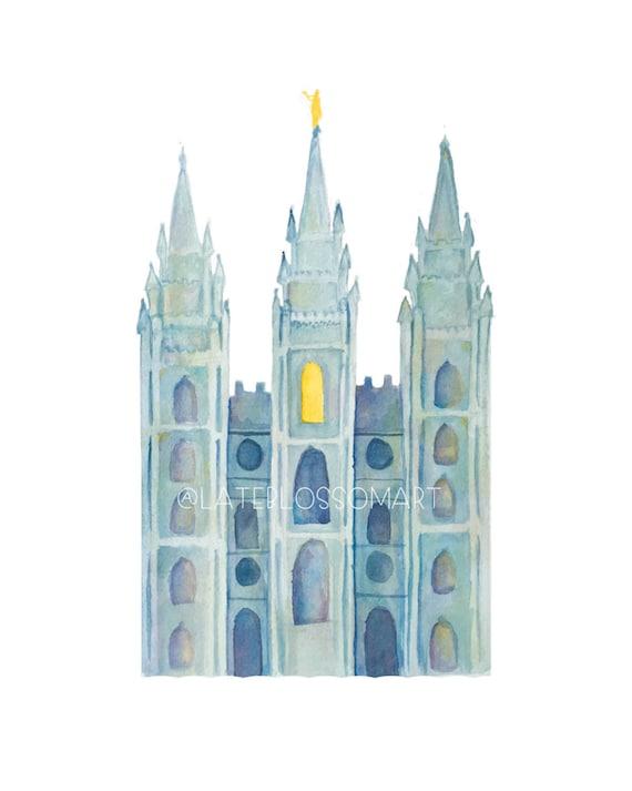 Watercolor Salt Lake Temple Salt Lake Temple Printable