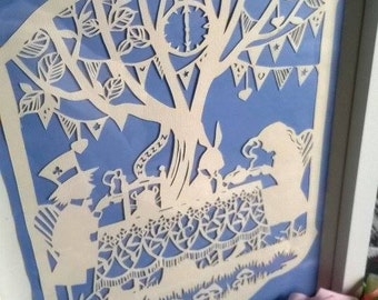 Alice in wonderland inspired paper cut,Tea party,unique framed art work,Alice fan