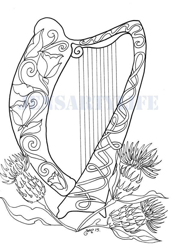 harp coloring pages - photo#11