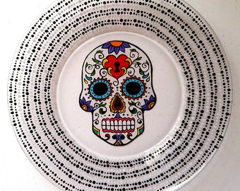 Day of the Dead, Sugar Skull, Mexican, Skull, Festive, Spanish, Hand Painted, Plate, Ring Dish, Dinnerware, Catch All, Gift, Housewarming