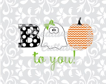 Halloween SVG BOO to You pumpkin ghost for  Silhouette or other craft cutters (.svg/.dxf/.eps)