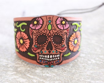 Dia de Los Muertos - Day of The Dead - Jewelry - Leather Bracelet - Leather Cuff -Halloween - Bohemian/Gypsy/Hippie