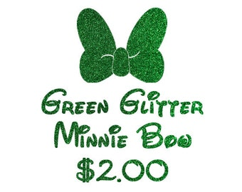 Green Glitter for Minnie Bow on Shirt Upgrade