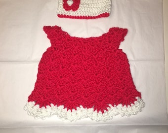 Crochet baby dress with matching hat